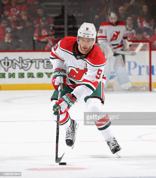 Taylor Hall of the New Jersey Devils skates against the Columbus Blue Jackets at the Prudential Center on December 23 2018 in Newark New Jersey The...