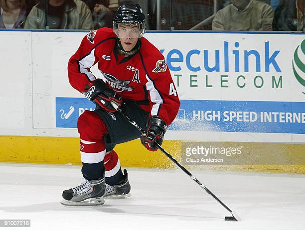 Taylor Hall of the Windsor Spitfires gets set to make a pass in a game against the London Knights on September 18 2009 at the John Labatt Centre in...