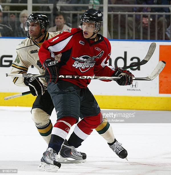 Taylor Hall of the Windsor Spitfires skates in a game against the London Knights on September 18 2009 at the John Labatt Centre in London Ontario The...