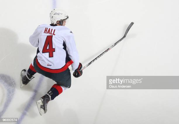 Taylor Hall of the Windsor Spitfires skates in a game against the London Knights on January 29 2010 at the John Labatt Centre in London Ontario The...