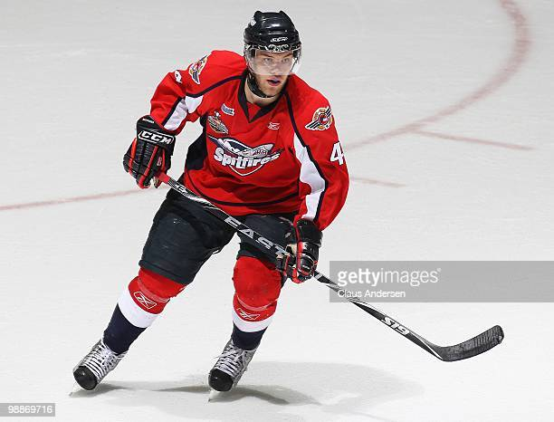 Taylor Hall of the Windsor Spitfires skates in the 4th game of the OHL Championship Final against the Barrie Colts on May 42010 at the WFCU Centre in...