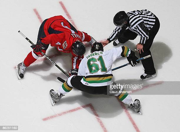 Taylor Hall of the Windsor Spitfires takes a faceoff against John Tavares of the London Knights in game 5 of the Western Conference Championship on...