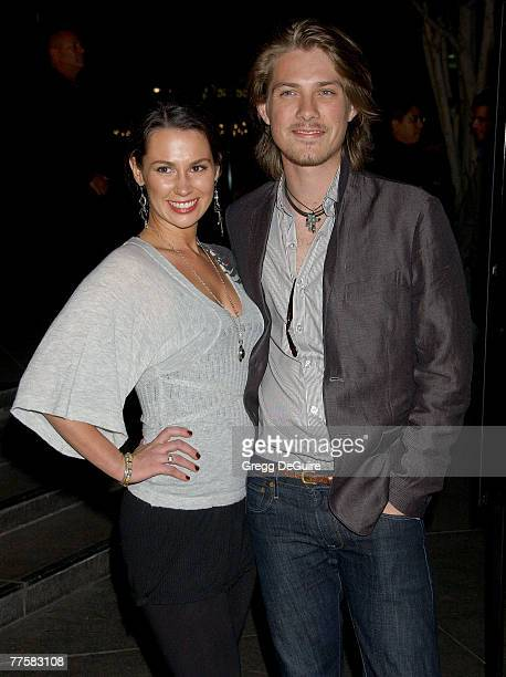 Taylor Hanson and wife Natalie arrive at the Darfur Now Los Angeles screening at the Directors Guild of America on October 30 2007 in Los Angeles...
