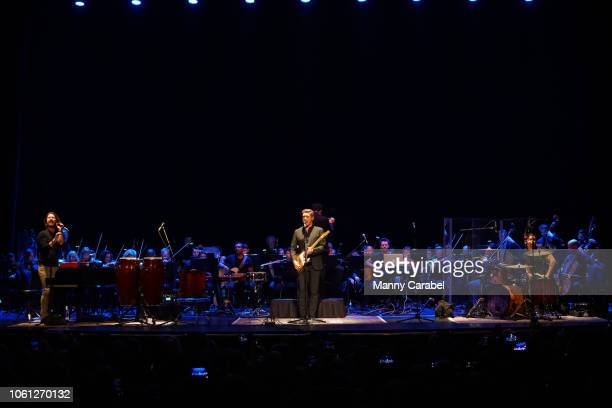 Taylor Hanson Isaac Hanson and Zac Hanson peform on stage during Hanson String Theory Live with Orchestra at The Beacon Theatre on November 13 2018...