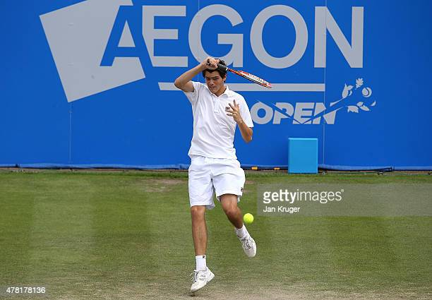 Taylor Harry Fritz of USA in action against Feliciano Lopez of Spain on day three of the Aegon Open Nottingham at Nottingham Tennis Centre on June 23...