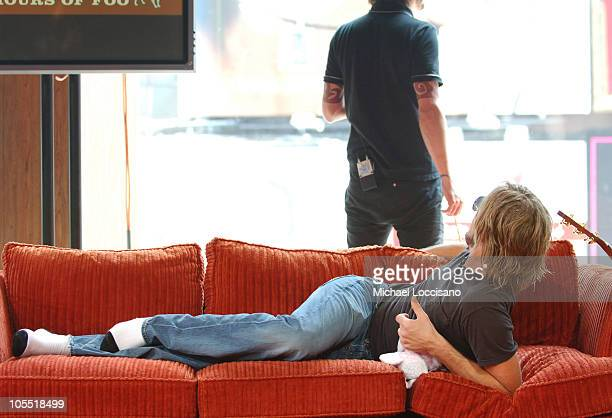 """Taylor Hawkins and Dave Grohl of the Foo Fighters during Foo Fighters Take Over MTV2 - """"24 Hours of Foo"""" - June 11, 2005 at MTV Building in New York..."""
