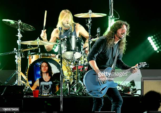 Taylor Hawkins and Dave Grohl perform at I Am The Highway A Tribute to Chris Cornell at the Forum on January 16 2019 in Inglewood California