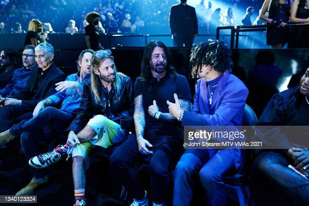 Taylor Hawkins, Dave Grohl, and Iann Dior attend the 2021 MTV Video Music Awards at Barclays Center on September 12, 2021 in the Brooklyn borough of...