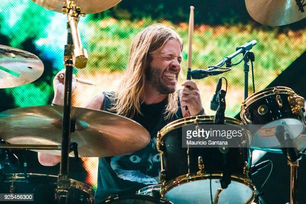 Taylor Hawkins drummer member of the band Foo Fighters performs live on stage at Allianz Parque on February 27 2018 in Sao Paulo Brazil