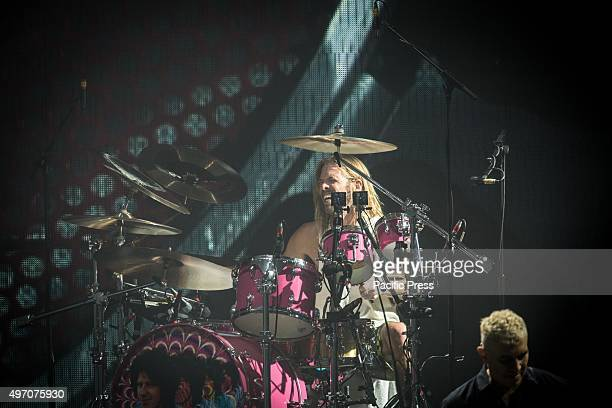 Taylor Hawkins of the american rock band Foo Fighters pictured on stage as he performs live at Unipol Arena Bologna Foo Fighters is an American rock...