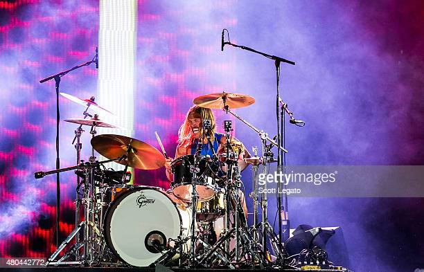 Taylor Hawkins of The Foo Fighters performs during a rainstorm which was later cancelled at the 2015 Festival D'ete De Quebec on July 11 2015 in...