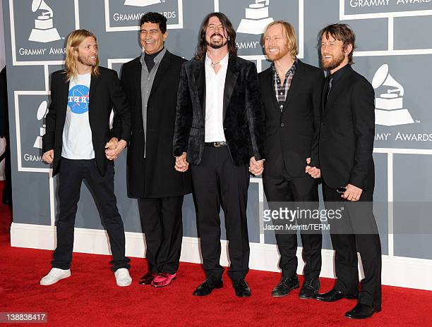 Taylor Hawkins, Pat Smear, Dave Grohl, Nate Mendel, and Chris Shiflett of the Foo Fighters arrives at the 54th Annual GRAMMY Awards held at Staples...