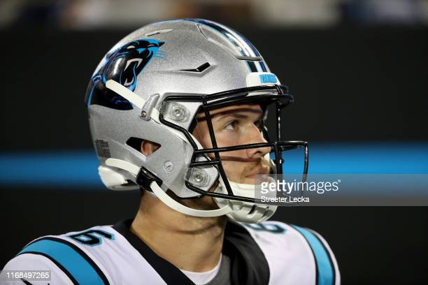 Taylor Heinicke of the Carolina Panthers looks on against the Buffalo Bills in the second half during the preseason game at Bank of America Stadium...