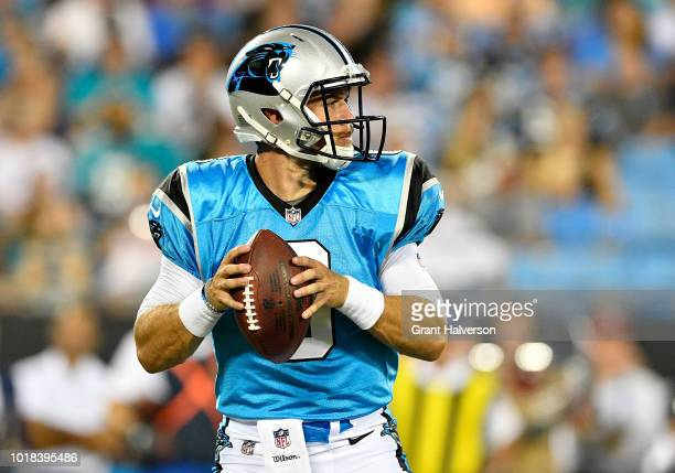 Taylor Heinicke of the Carolina Panthers throws a pass against the Miami Dolphins in the second quarter during the game at Bank of America Stadium on...