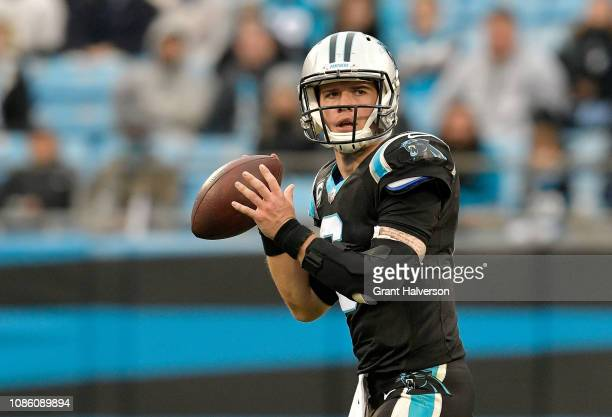 Taylor Heinicke of the Carolina Panthers throws a pass against the Atlanta Falcons in the fourth quarter during their game at Bank of America Stadium...