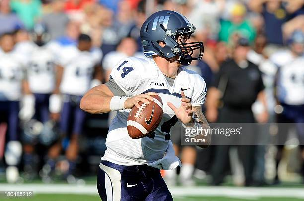 Taylor Heinicke of the Old Dominion Monarchs drops back to pass against the Maryland Terrapins at Byrd Stadium on September 7 2013 in College Park...