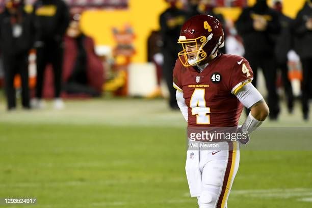Taylor Heinicke of the Washington Football Team looks on against the Carolina Panthers during the game at FedExField on December 27, 2020 in...