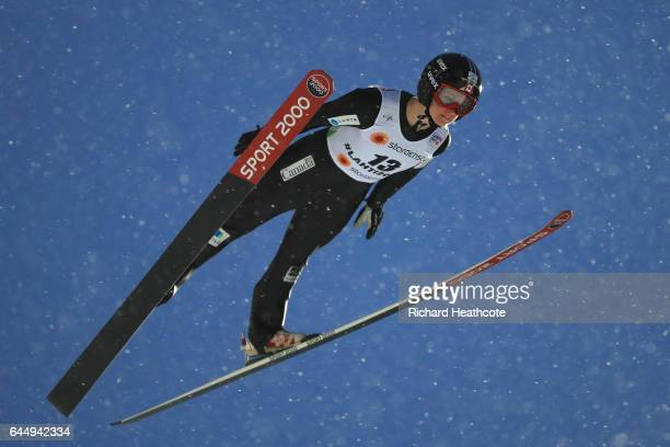 Taylor Heinrich of Canada competes in the Women's Ski Jumping HS100 during the FIS Nordic World Ski Championships on February 24 2017 in Lahti Finland