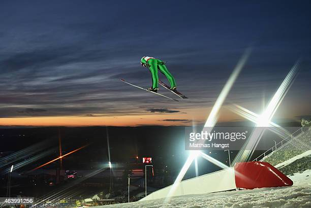 Taylor Henrich of Canada competes during the Women's HS100 Normal Hill Ski Jumping during the FIS Nordic World Ski Championships at the Lugnet venue...