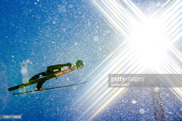 Taylor Henrich of Canada competes in the Women's Ski Jumping HS100 during the FIS Nordic World Ski Championships on February 24 2017 in Lahti Finland