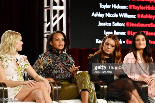 """Taylor Hickson, Ashley Nicole Williams, Jessica Sutton and Lyne Renee of """"Motherland: Fort Salem"""" speak during the Freeform segment of the 2020..."""