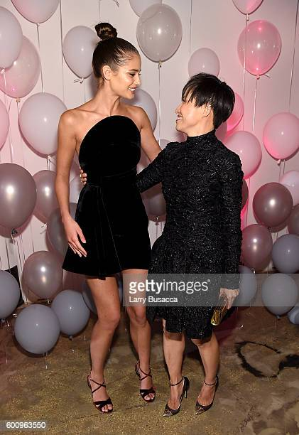 Taylor Hill and Jimmy Choo Creative Director Sandra Choi attend the Jimmy Choo 20th Anniversary Event during New York Fashion Week on September 8...