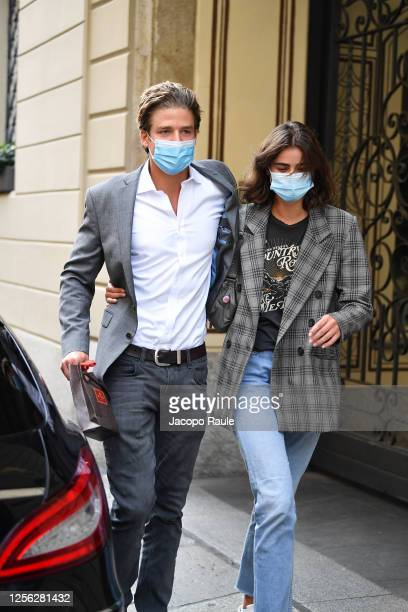 Taylor Hill and Michael Stephen Shank are seen arriving at the Four Season Hotel ahead of the Etro Fashion Show on July 15 2020 in Milan Italy