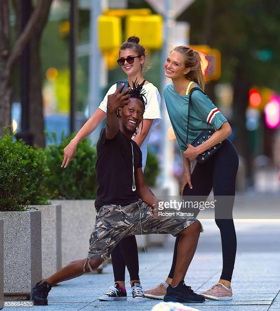 Taylor Hill and Romee Strijd are seen out walking in Manhattan on August 24 2017 in New York City