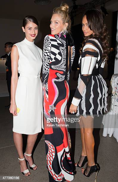 Taylor Hill Anja Rubik and Joan Smalls attend the 2015 amfAR Inspiration Gala New York at Spring Studios on June 16 2015 in New York City