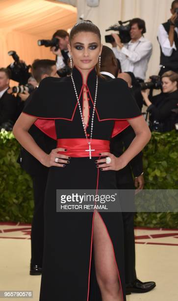 Taylor Hill arrives for the 2018 Met Gala on May 7 at the Metropolitan Museum of Art in New York The Gala raises money for the Metropolitan Museum of...
