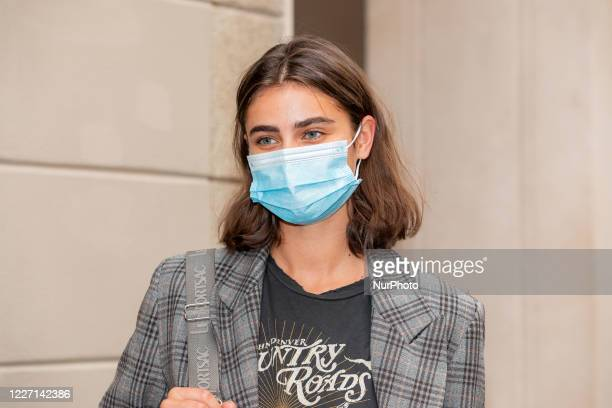 Taylor Hill attends the Etro fashion show during Milan Digital Fashion Week on July 15 2020 in Milan Italy