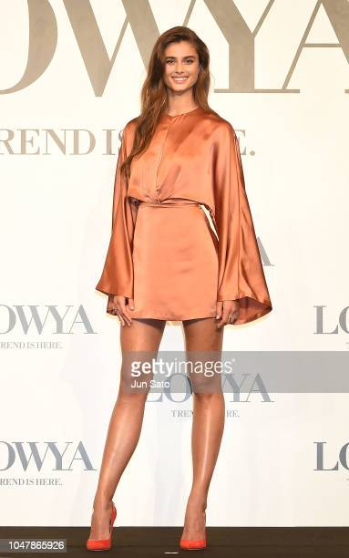 """Taylor Hill attends the press conference for furniture and lifestyle brand """"Lowya"""" at the Ritz-Carlton on October 9, 2018 in Tokyo, Japan."""