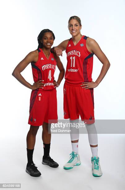 Taylor Hill Elena Delle Donne of the Washington Mystics pose for a photo on February 10 2017 at Verizon Center in Washington DC NOTE TO USER User...