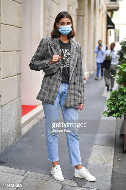 Taylor Hill is seen arriving at the Four Season Hotel ahead of the Etro Fashion Show on July 15 2020 in Milan Italy