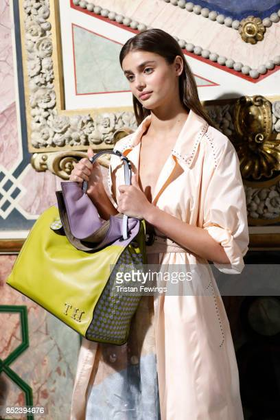 Taylor Hill is seen backstage ahead of the Bottega Veneta show during Milan Fashion Week Spring/Summer 2018 on September 23 2017 in Milan Italy