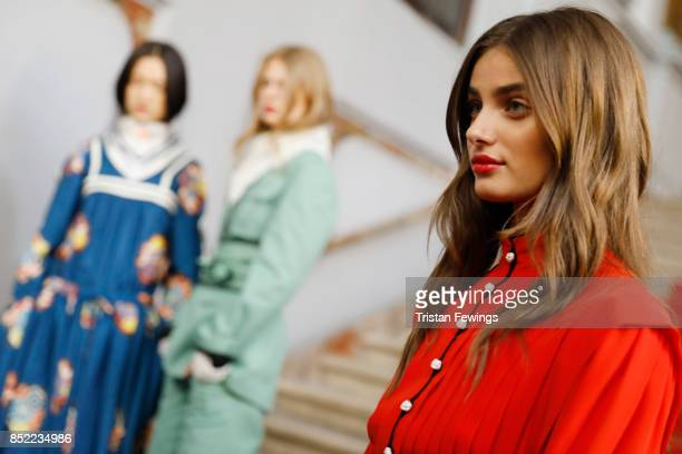 Taylor Hill is seen backstage ahead of the Philosophy By Lorenzo Serafini show during Milan Fashion Week Spring/Summer 2018on September 23, 2017 in...