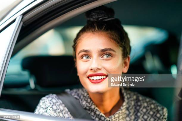 Taylor Hill is seen during the Miu Miu Cruise Collection show outside the Hotel Regina in Paris on June 30 2018 in Paris France