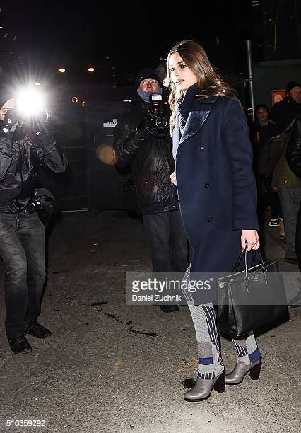 Taylor Hill is seen outside the Jonathan Simkhai show during New York Fashion Week: Women's Fall/Winter 2016 on February 14, 2016 in New York City.