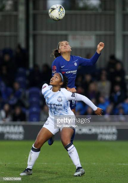 Taylor Hinds of Everton Ladies holds of Ali Riley of Chelsea Women during the FA Women's Super League match between Chelsea Women and Everton Ladies...