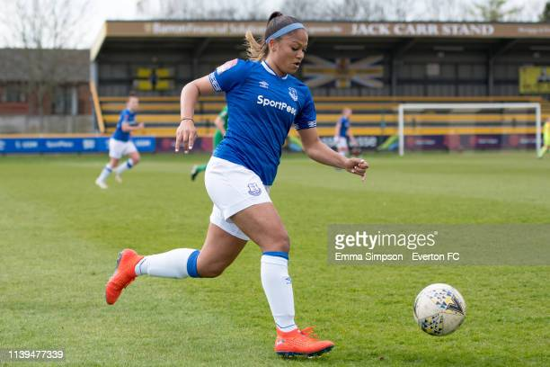 Taylor Hinds of Everton ladies on the ball during the WSL match between Everton Ladies and Yeovil Town Ladies on March 31 2019 in Southport England