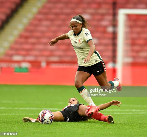 Taylor Hinds of Liverpool Women competing with Jess Clarke of Sheffield United Women during the Barclays FA Women's Championship match between...