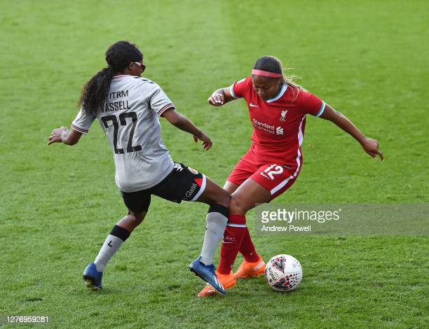 Taylor Hinds of Liverpool Women with Shauna Vassell of Charlton Athletic Women during the FA Women's Championship match between Liverpool Women and...