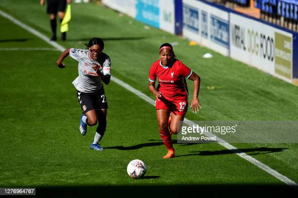 Taylor Hinds of Liverpool Women with Shauna Vassell of Charlton Athletic Womenduring the FA Women's Championship match between Liverpool Women and...