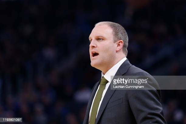Taylor Jenkins head coach of the Memphis Grizzlies directs his players in the first half against the Golden State Warriors at Chase Center on...