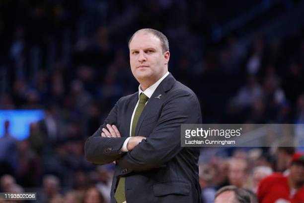 Taylor Jenkins head coach of the Memphis Grizzlies looks on in the second half against the Memphis Grizzlies at Chase Center on December 09 2019 in...