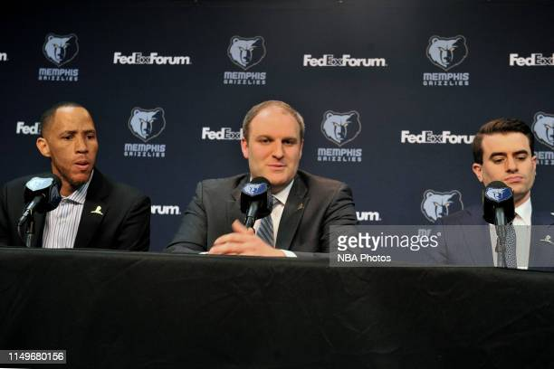 Taylor Jenkins is introduced as the Memphis Grizzlies' new head coach during a press conference at FedExForum on June 12 2019 at FedEx Forum in...