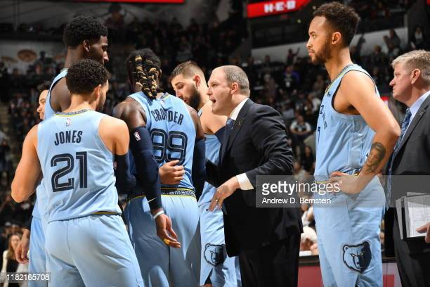 Taylor Jenkins of the Memphis Grizzlies coaches against the San Antonio Spurs on November 11 2019 at the ATT Center in San Antonio Texas NOTE TO USER...