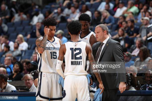 Taylor Jenkins of the Memphis Grizzlies coaches his team against the Charlotte Hornets during a preseason game on October 14 2019 at FedExForum in...