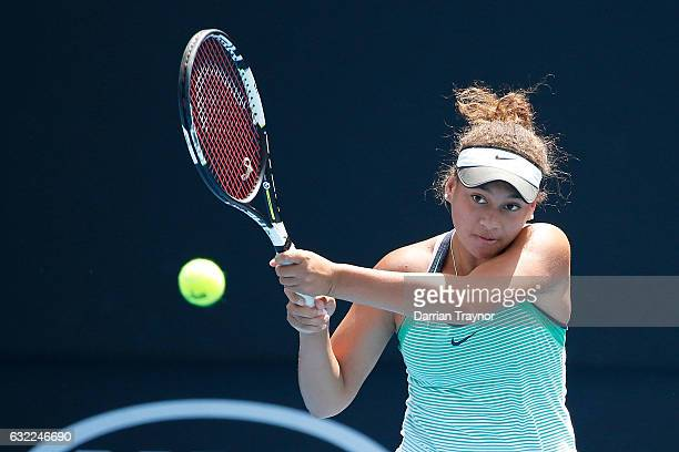 Taylor Johnson of the United States against Violet Apisah of Papua New Guinea during the Australian Open 2017 Junior Championships at Melbourne Park...