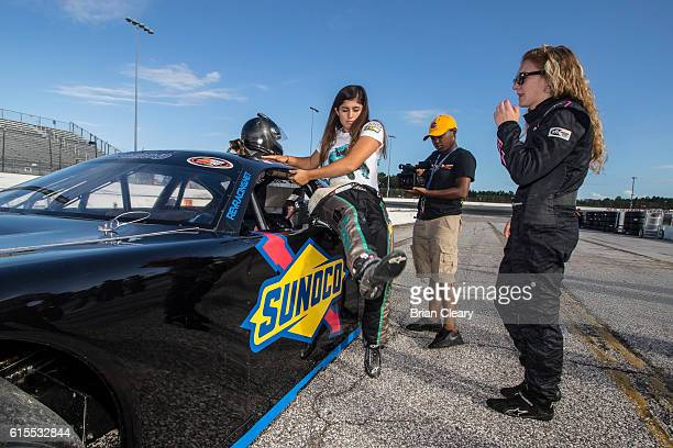 Taylor Jorgenson R and Hailie Deegan at the NASCAR Drive for Diversity Developmental Program at New Smyrna Speedway on October 18 2016 in New Smyrna...